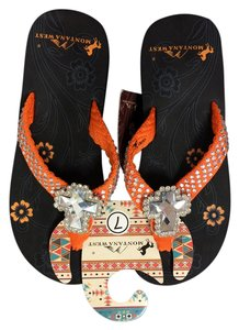 Montana West Studded Bling Orange Sandals