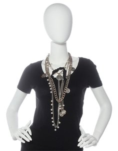 Lanvin **SOLDOE*WINTER 2005 MULTI STRAND PEARL CHAIN AND COIN RIBBON NECKLACE