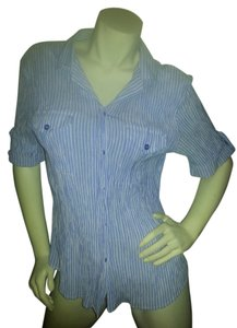 Apparenza Button Down Shirt blue & white