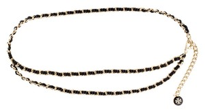 Tory Burch Gold-tone Tory Burch adjustable chain-link Reva logo charm waist belt New