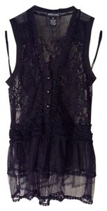 Wet Seal Sheer Lace Top Black