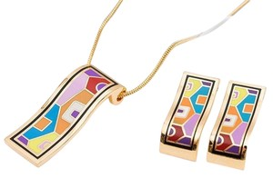 New High quality gold-plated colorful geometry pattern enamel jewelry set ( necklace + earrings)