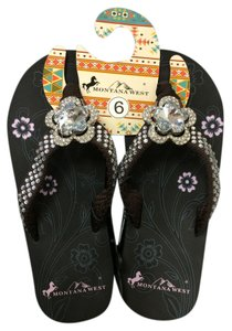 Montana West Studded Bling Flower Brown Sandals