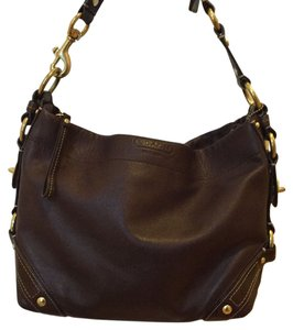 6b30a12b19 Coach Carly Hobo Brass Hardware Tote G0782-10615 Dark Brown Leather  Shoulder Bag