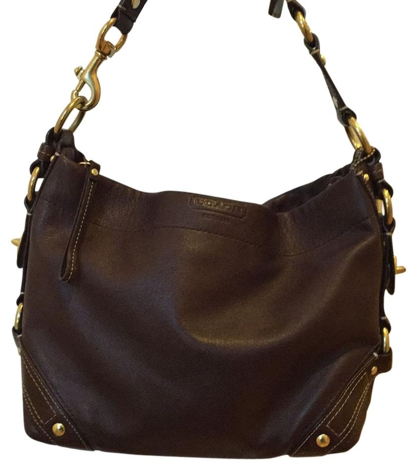 ad2f876c58 Coach Carly Hobo Brass Hardware Tote G0782-10615 Dark Brown Leather ...