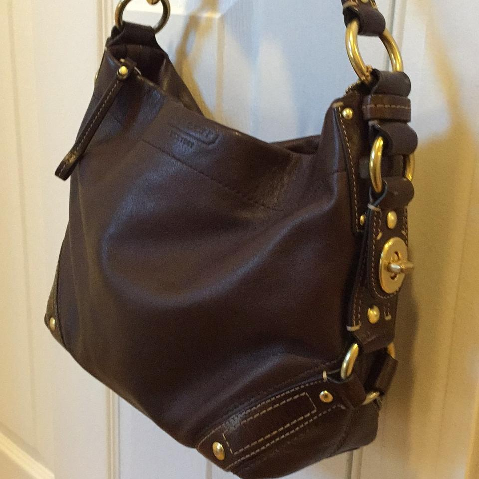 8c3485f5de Coach Carly Hobo Brass Hardware Tote G0782-10615 Dark Brown Leather  Shoulder Bag - Tradesy