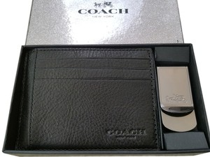 Coach black new 64453 leather business card case holder metal money coach new coach 64453 leather business card case holder metal money clip box set black colourmoves Choice Image