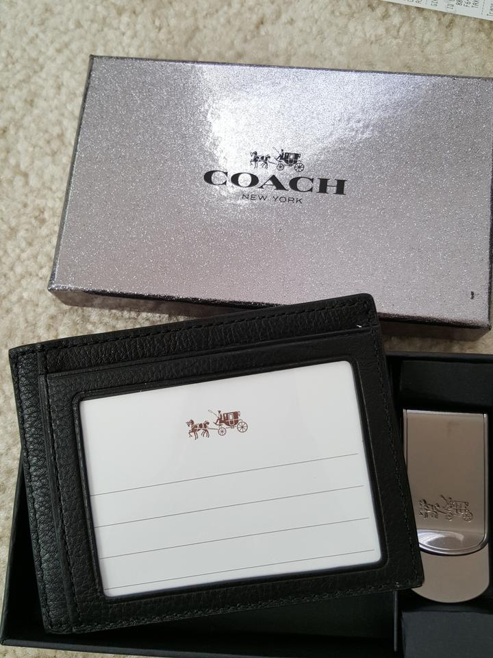 Coach black new 64453 leather business card case holder metal coach black new 64453 leather business card case holder metal money clip box set wallet tradesy colourmoves