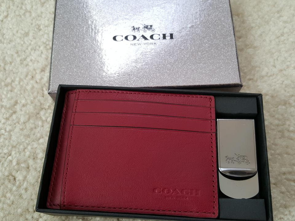 ee8d53e5 Coach Red Box New 64453 Leather Business Card Case Holder+ Metal Money Clip  Set Wallet