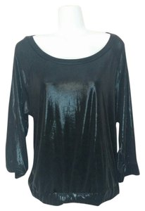 Rachel Roy Scoop Neck Shirt Wet Look Shiny Medium Top Black