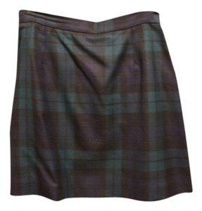 Isaac Mizrahi Mini Skirt GREEN AND NAVY PLAID