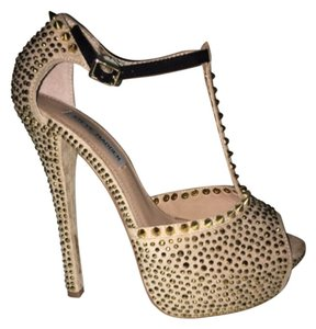 Steve Madden Gold Gold Hardware Studded Spike Stiletto Two-tone Night Out Platforms