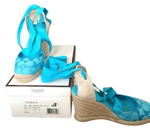 Coach Wedge Espadrille Summer Turquoise Wedges