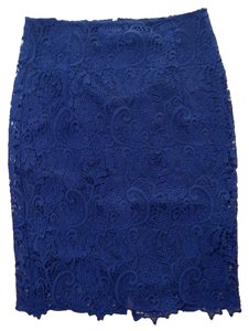 Zara Lace Pencil Office Wear Preppy Pencil Skirt Navy