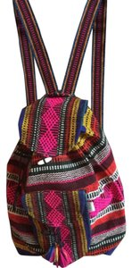 Rainbow loomed Mexican riviera backpack with fringe Backpack