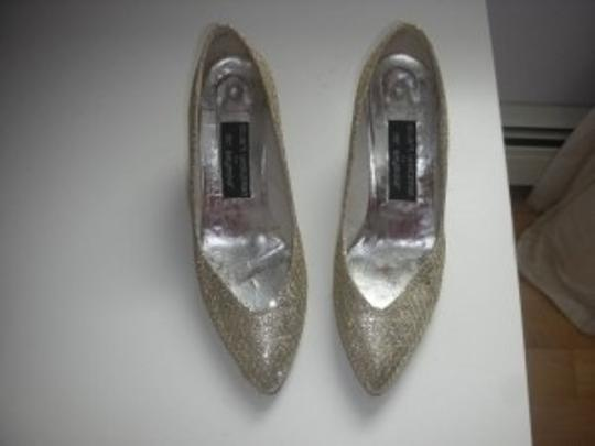 Stuart Weitzman Gold and Silver Glitter Pumps