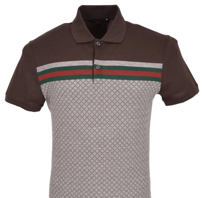 Item - Brown New Men's 251623 Diamante Red Green Web Cotton Slim Fit Polo 2xl Tee Shirt Size 22 (Plus 2x)