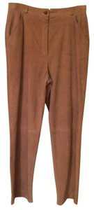 Escada Sport Suede Leather Relaxed Pants Camel