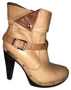 BCBGeneration Two-tone Leather Sleek Gold Hardware Strappy Tan Boots