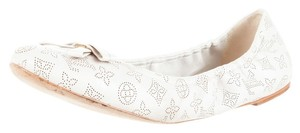 Louis Vuitton Leather Round Toe Ballet Ballerina Perforated Ivory Logo Monogram 41 11 New Embellished Textured Gold Gold Hardware White Flats