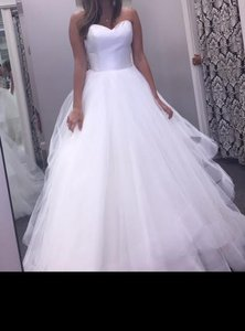 Justin Alexander Natural/Silver Tulle Skirt with Satin Bodice 8779 Formal Wedding Dress Size 6 (S)