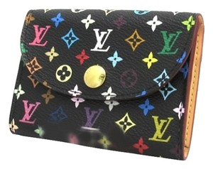 Louis Vuitton Authentic Louis Vuitton Murakami Multicolore Monogram Noir Card Case w/ Natural Interior