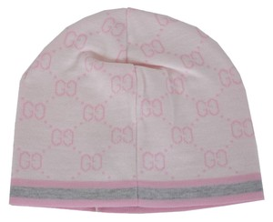 Gucci New Gucci Baby 261826 Pink Wool GG Guccissima Beanie Hat Cap Large 12-24 MOS