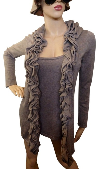 Preload https://item3.tradesy.com/images/janan-taupe-tank-and-long-ruffle-cardigan-size-petite-6-s-1068362-0-1.jpg?width=400&height=650