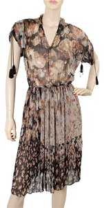 Jean-Paul Gaultier V-neck Print Pleated Silk Chiffon Sheer Dress
