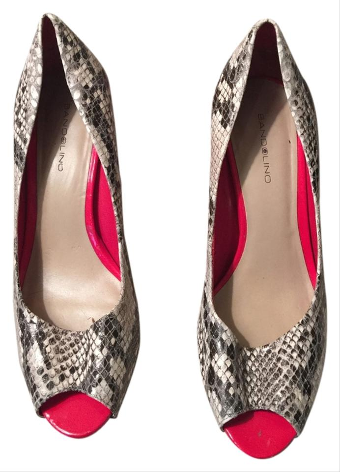 Bandolino Black and Peep Cream Snakeskin W/ Red Peep and Toe Pumps a64ea0