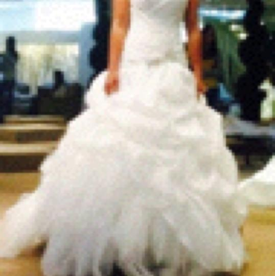 White Polyester Dp112 Formal Wedding Dress Size 4 (S)
