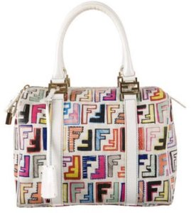 Fendi Imported Logo Monogram Leather Limited Edition Satchel in multi