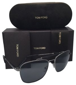 Tom Ford Polarized TOM FORD Sunglasses EDWARD TF 377 09D 58-17 Gunmetal Aviator Frame & Black w/ Grey Lenses