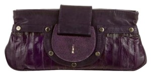 R&Y Augoisti Imported Leather Eel Snakeskin Limited Edition purple Clutch