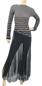 Black and Grey Maxi Dress by Jean-Paul Gaultier Striped Bold Stripe A-line