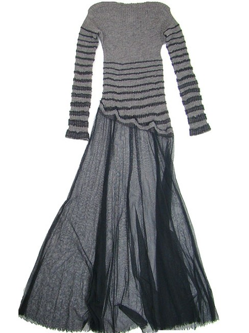 Black and Grey Maxi Dress by Jean-Paul Gaultier Striped Bold Stripe A-line Tulle Wool