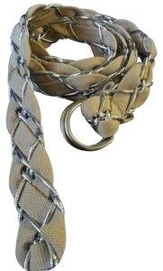 Unknown Braided silver rope & fabric belt