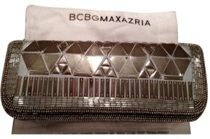 BCBGMAXAZRIA Mirror Shiny Rectangle Sequin Antique Silver Clutch