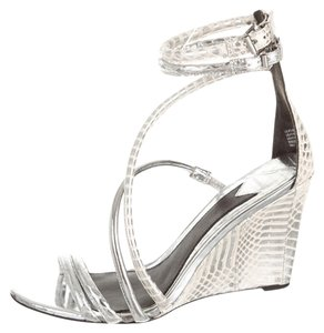 Brian Atwood Wedge Sandal Metallicemboss Silver Sandals