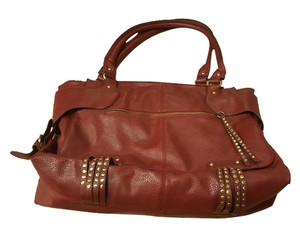 Black Rivet Studded Leather Tote in Burgundy