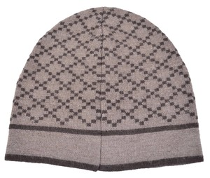 Gucci New Gucci 281600 Men's 100% Wool Diamante Taupe Brown Beanie Ski Winter Hat