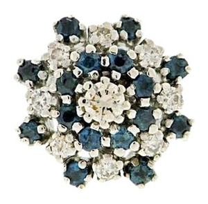 STEAL- LOTS OF BLING 14k White gold & Sapphire diamond cluster cocktail right hand ring