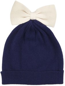Kate Spade Kate Spade Colorblock Bow Beanie Navy/Cream
