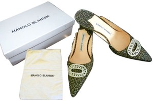 Manolo Blahnik Pointed Toe Crystal Brooch ANIMAL PRINT Mules