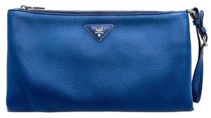 Prada Leather Evening Party Royal Blue Clutch