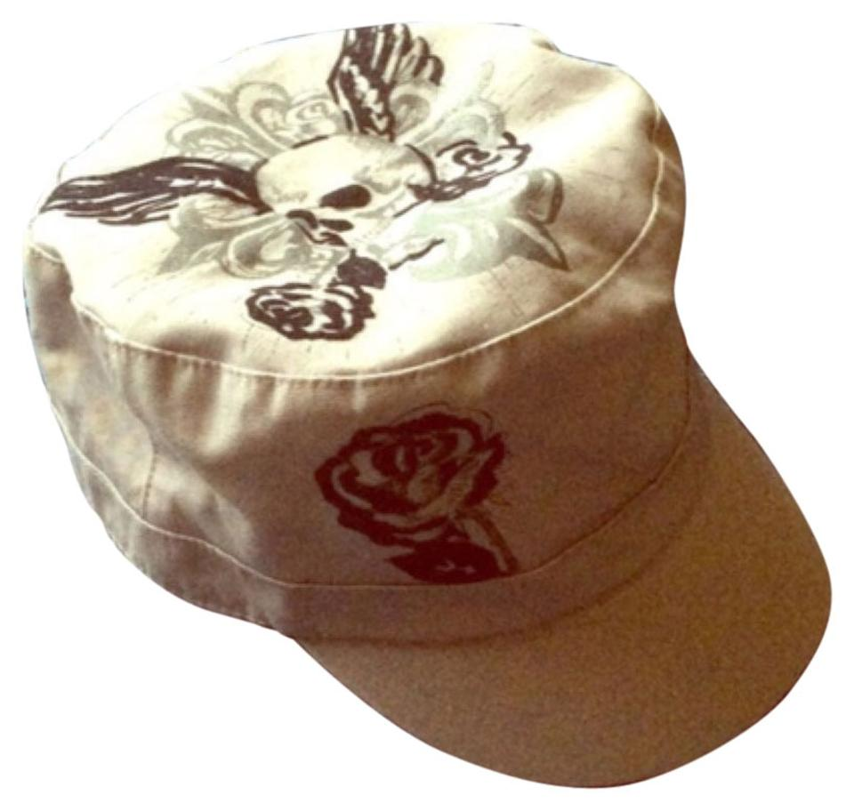 Piper & Blue Gray Military Cadet Cap with Skull and Roses Hat 50% off retail