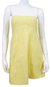 Tibi short dress Yellow Strapless on Tradesy