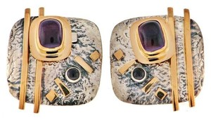 MUST SEE- 14k Gold & Sterling silver Amethyst earrings with Iolite square plaque