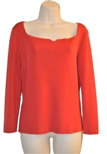 Dana Buchman 100% Silk Long Sleeve Top Top Red