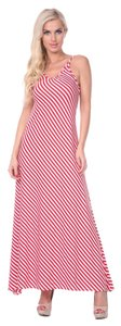 Red Stripes Maxi Dress by White Mark Backless